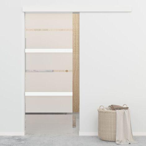 Puerta corredera con topes suaves vidrio ESG aluminio 76x205 cm