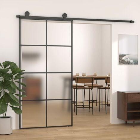 Puerta corredera de aluminio y vidrio ESG 102,5x205 cm negro - Negro