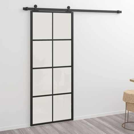 Puerta corredera de aluminio y vidrio ESG 76x205 cm negro