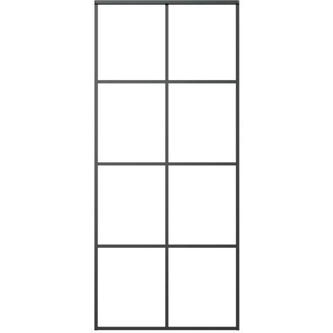 Puerta corredera de aluminio y vidrio ESG negro 83x205 cm