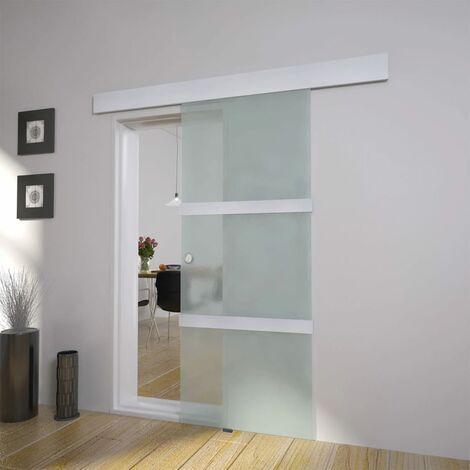 Puerta corredera de cristal y aluminio 178 cm plateado - Plateado