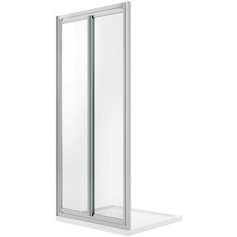 Puerta de ducha 70CM H185 Cristal Transparente Apertura a Saloon con doble puerta batiente mod. Clint