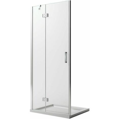 Puerta de Ducha 70CM H190 Vidrio Transparente con Easy-Clean mod. Flip Hoja + Perfil