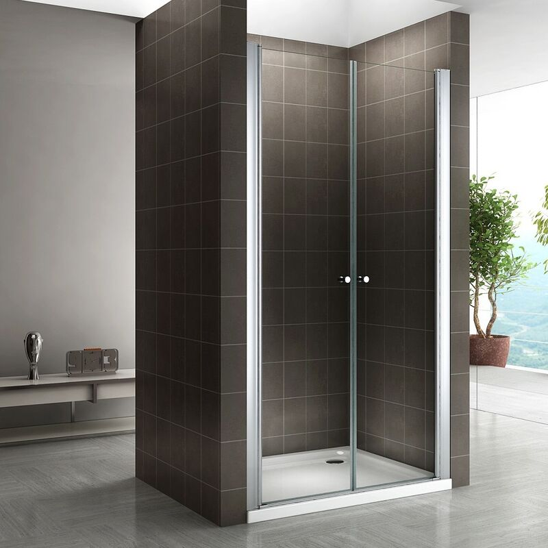 Puerta de ducha altura 185 cm - vidrio de seguridad de 6mm con nano-revestimiento 76-80 cm TRANSPARENTE - MOMENTS OF GLASS