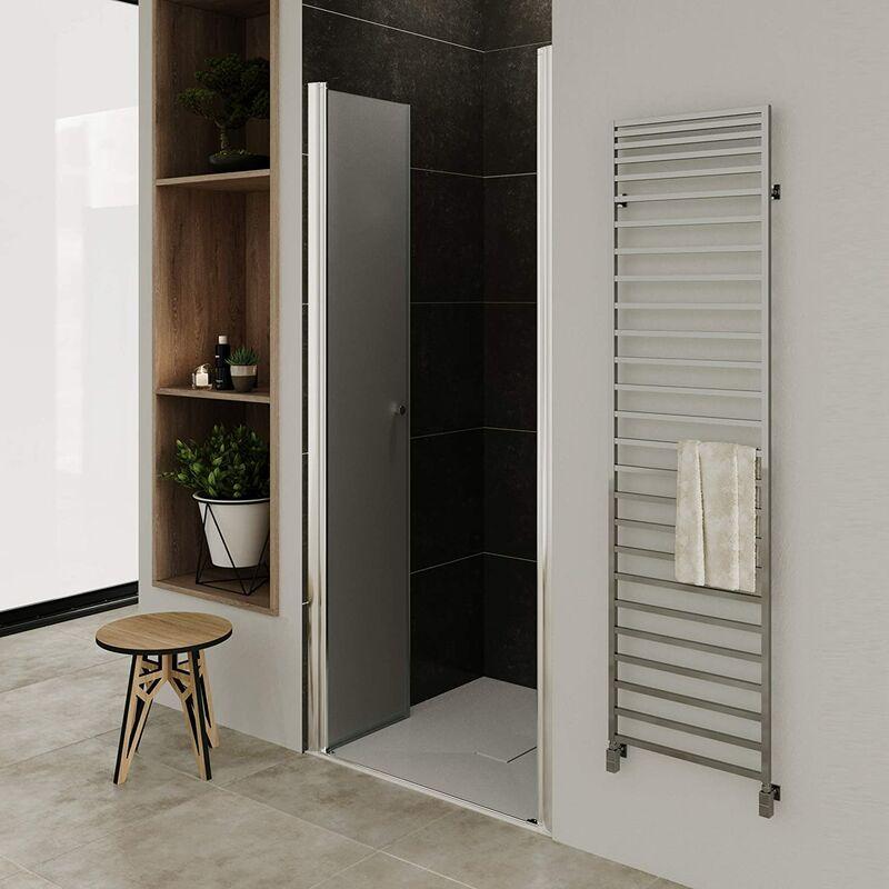 Puerta de ducha altura 195 cm - vidrio de seguridad de 6mm con nano-revestimiento 92-96 cm SATINADO