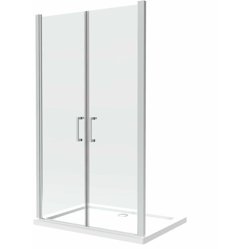 Cabina de ducha compuesta por dos puertas batientes de 8 mm en la misma linea H.200 - 160 cm