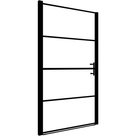 Puerta de ducha de vidrio templado negro 100x178 cm