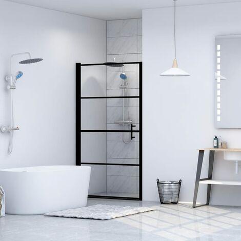 Puerta de ducha de vidrio templado negro 101x180 cm