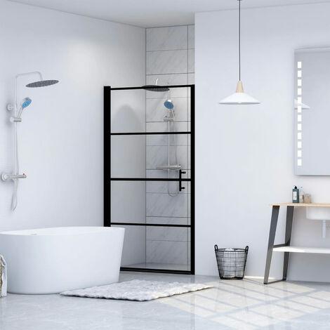Puerta de ducha de vidrio templado negro 81x195 cm