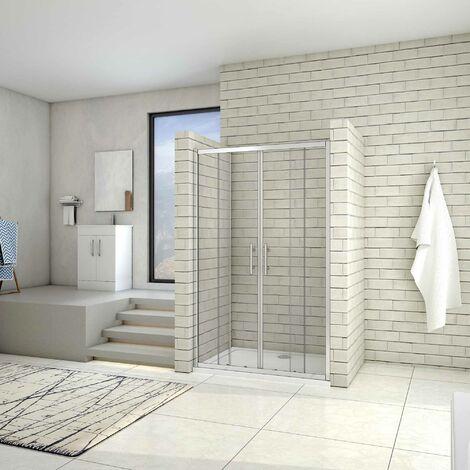 Puerta de ducha por 2 hojas fijas y 2 puertas corredor, cristal templado de 5mm