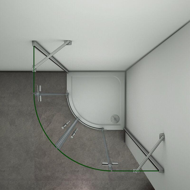 Puerta de ducha Semicircular Esquinal Mampara de Ducha Apertura de puerta Abatible Curvo Antical 88x88x195cm
