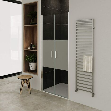 Puerta de ducha vidrio parcialmente satinado de 6mm - altura: 195 cm NM