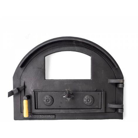 Puerta de fundición para horno de leña con cristal (peso: 16 Kg)