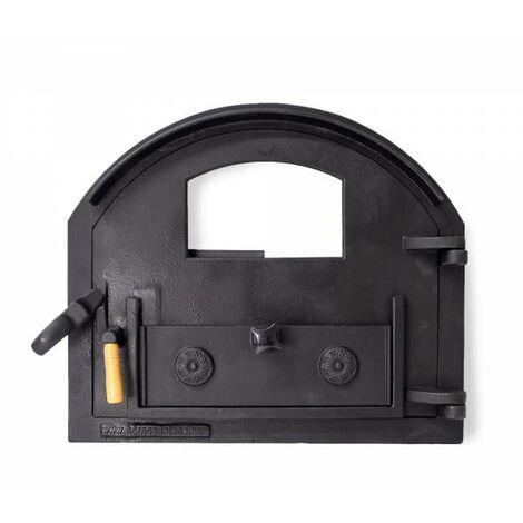 Puerta de fundición para horno de leña con cristal (peso: 22 Kg)