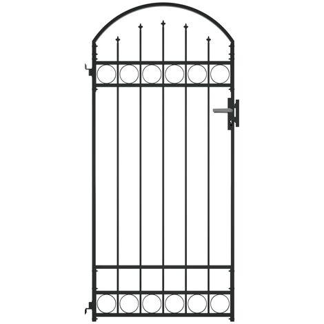 Puerta de jardín con arco de acero negro 100x200 cm