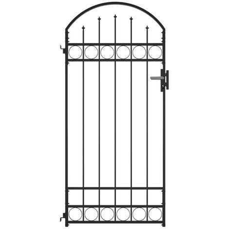 Puerta de jardin con arco de acero negro 100x200 cm