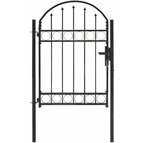 Puerta de jardín con arco superior 100x125 cm acero negro
