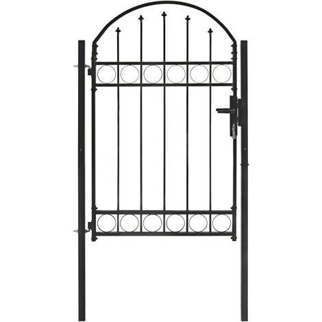 Puerta de jardín con arco superior 100x150 cm acero negro