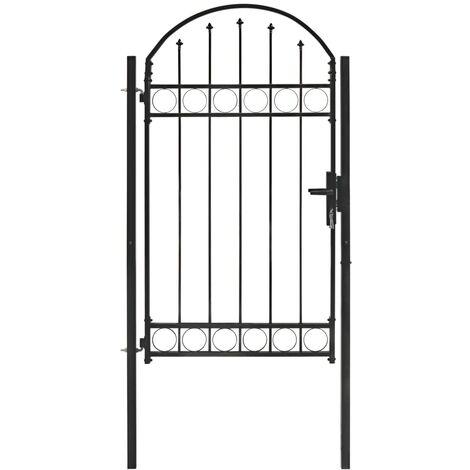 Puerta de jardín con arco superior 100x175 cm acero negro