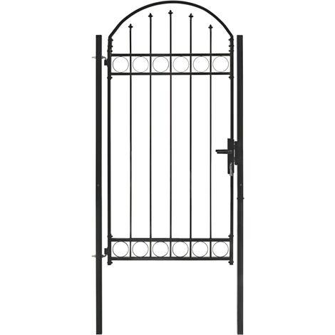 Puerta de jardín con arco superior 100x250 cm acero negro