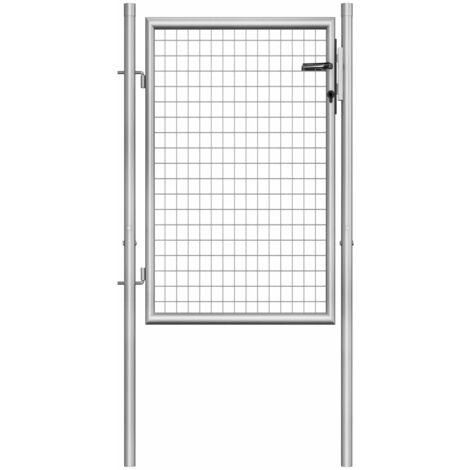 Puerta de jardín de acero galvanizado plateado 105x150 cm