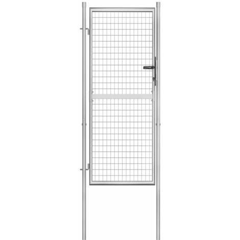 Puerta de jardin de acero galvanizado plateado 105x250 cm