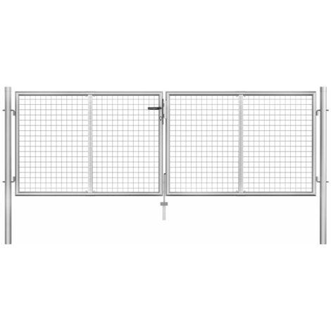 vidaXL Puerta de jardín de acero galvanizado plateado 306x125 cm - Plateado