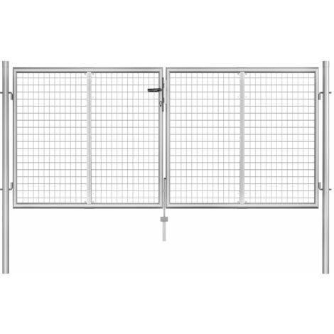 Puerta de jardín de acero galvanizado plateado 306x150 cm