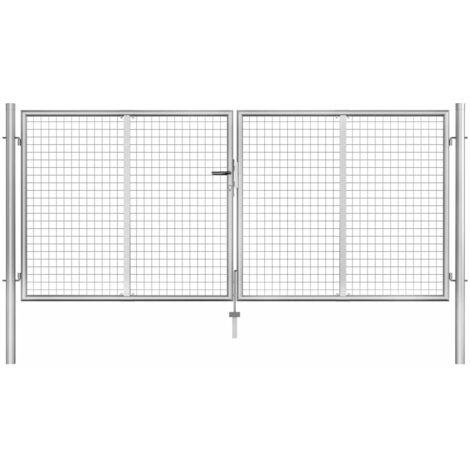 Puerta de jardín de acero galvanizado plateado 306x175 cm