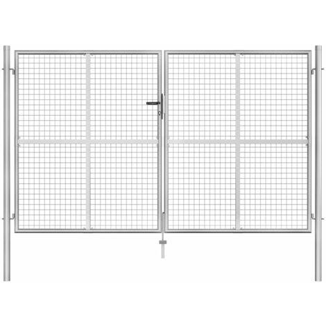 Puerta de jardín de acero galvanizado plateado 306x200 cm