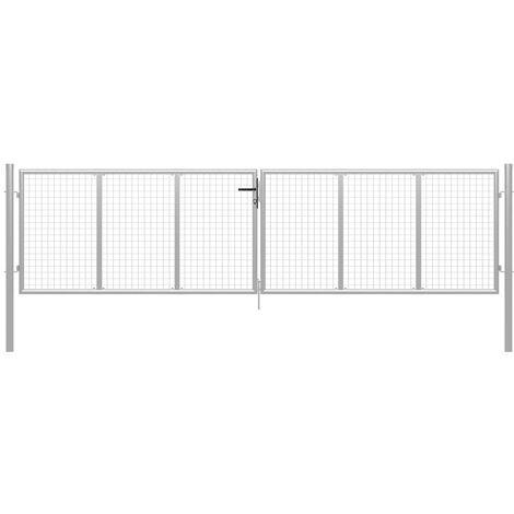 Puerta de jardín de acero galvanizado plateado 415x150 cm