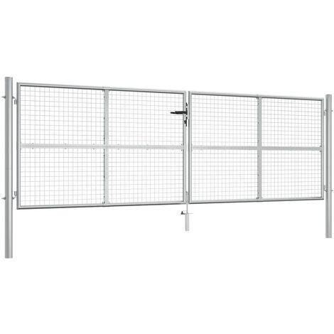 Puerta de jardín de acero galvanizado plateado 415x175 cm