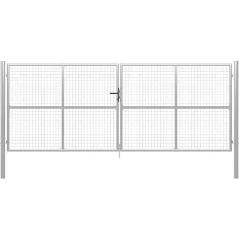 Puerta de jardín de acero galvanizado plateado 415x200 cm