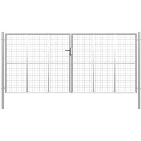 Puerta de jardín de acero galvanizado plateado 415x225 cm