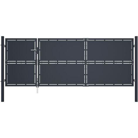 Puerta de jardín de acero gris antracita 350x125 cm