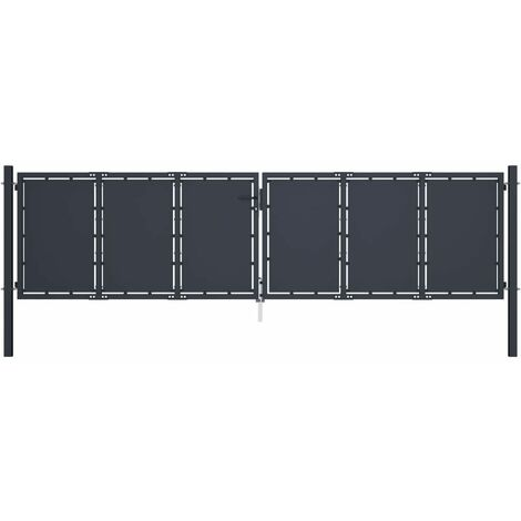 Puerta de jardín de acero gris antracita 400x100 cm