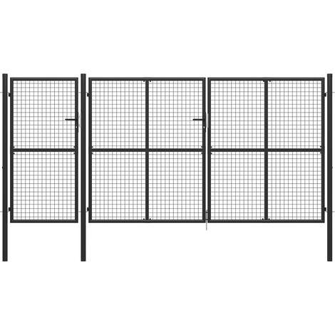 Puerta de jardín de acero gris antracita 400x150 cm