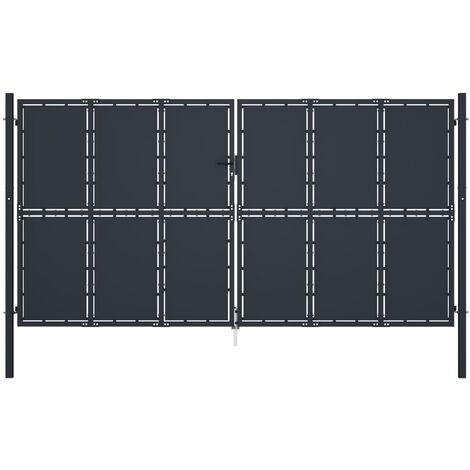 Puerta de jardín de acero gris antracita 400x175 cm