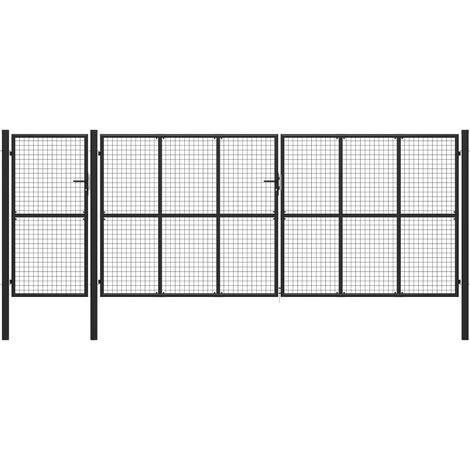 Puerta de jardín de acero gris antracita 500x175 cm