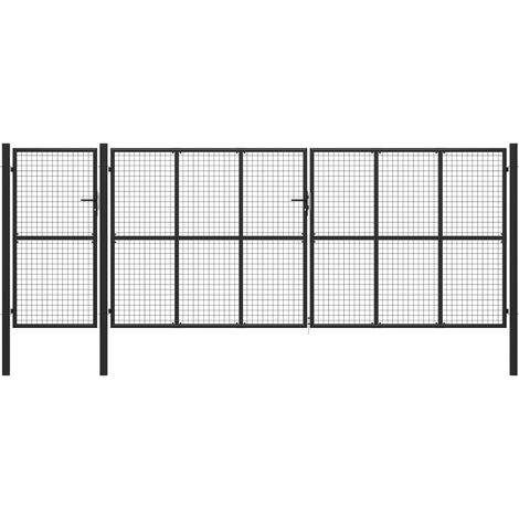 vidaXL Puerta de jardín de acero gris antracita 500x200 cm - Grigio