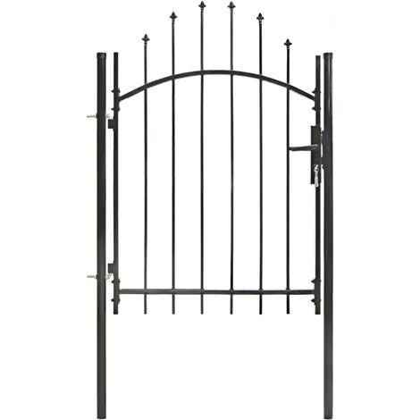 Puerta de jardín de acero negro 1x1,75 m