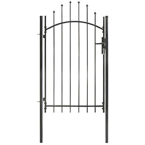 Puerta de jardín de acero negro 1x2,25 m