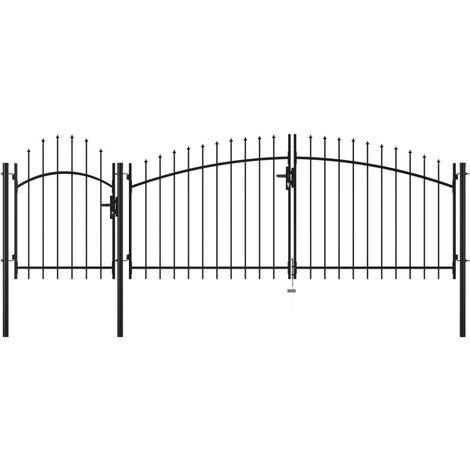 Puerta de jardín de acero negro 2,25x4 m
