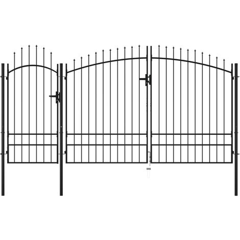 Puerta de jardín de acero negro 2,45x4 m