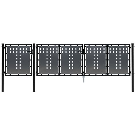 Puerta de jardín de acero negro 400x100 cm