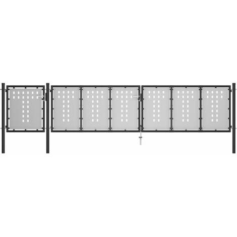Puerta de jardín de acero negro 500x100 cm