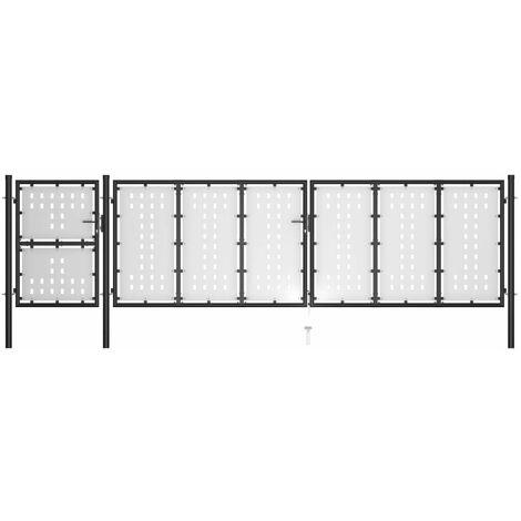 Puerta de jardín de acero negro 500x125 cm