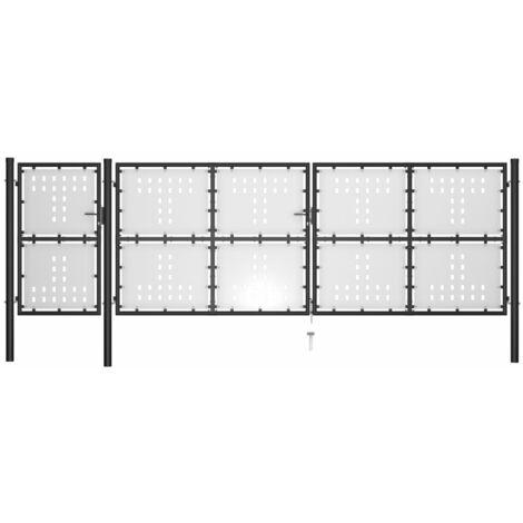 Puerta de jardín de acero negro 500x150 cm