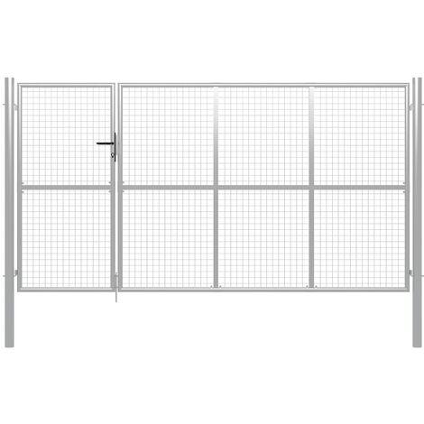 Puerta de jardín de acero plateada 350x200 cm