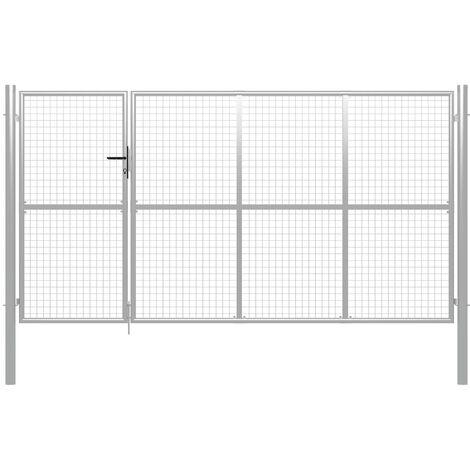 Puerta de jardín de acero plateado 350x150 cm
